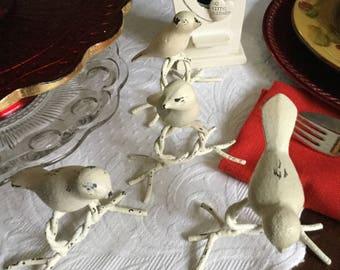 Ivory Primative Wrought Iron/Metal Bird Napkin Ring Holders-Braided Feet-With Bird House-Centerpiece