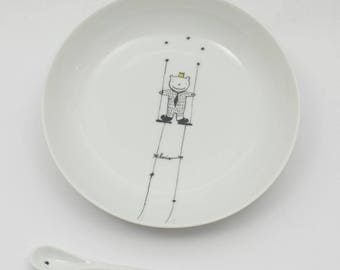 Plate porcelain child and his little hairy - customizable - spoon