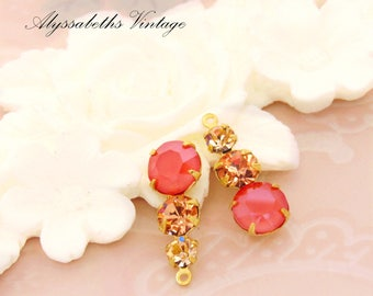 Swarovski Teardrop Matte Coral, Apricot and Peach Rhinestone Triple Set Stone Drops 23mm Setting Finish Choice - 2
