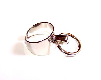 Support adjustable silver metal ring for charms