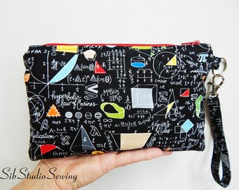 "Algebra Smartphone Clutch, 8.75 x 6 inches, Fits Smartphone up to 7"" Length, Padded and Fully Lined, Large Phone Wristlet, Math Phone Purse"