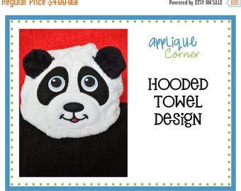 50% Off 039 Panda Bear with Ears applique for towels digital design for embroidery machine by Applique Corner