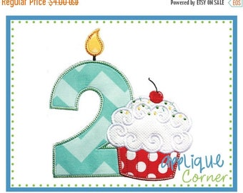 40% OFF Birthday Number 1 thru 9 with Cupcake applique design in digital format for embroidery machine by Applique Corner