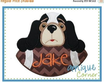 40% OFF INSTANT DOWNLOAD Hound Dog on Football applique digital design for embroidery machine by Applique Corner