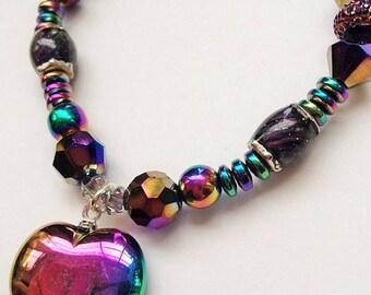 Mood Bracelet, Rainbow Bracelet, Color Changing Bracelet, Heart Bracelet, Hemalyke Rainbow Stretch Bracelet, OOAK
