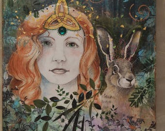 celtic woman and rabbit mixed media painting and collage from original drawings