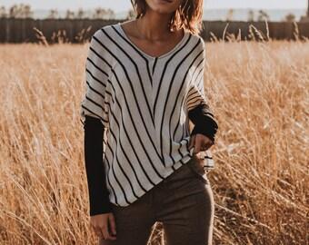 V-Neck Sweater in Black Stripes