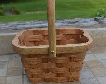 Flower girl wedding basket handle Oak wood