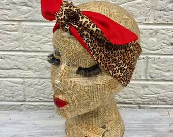 Leopard Print / Red Headacarf Rockabilly Pinup inspired