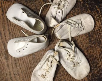 1950s Ideal Doll Shoes or Baby Booties for Doll or Child Shoes THREE PAIRS