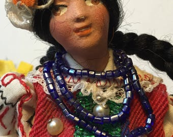 Handmade International Doll Vintage Greek Souvenir Doll Lovely Traditional Costume Handpainted Features