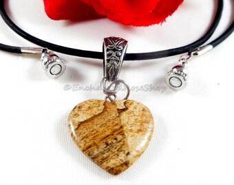 Heart Necklace, Heart Pendant Necklace, Heart Jewelry, Agate Pendant, Agate Necklace, Heart Charm Necklace, Heart Charm Liquidation Sale