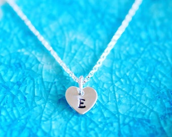 Mini Heart Necklace - Personalized Heart Necklace - Initial Necklace - Initial Heart - Initial Charm Necklace - Heart Necklace, Heart Charm