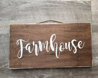 Wooden Stained Farmhouse Sign