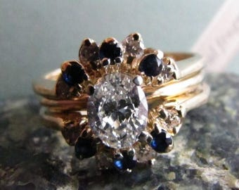 DEADsy LAST GASP SALE Half Carat + Diamond and Sapphire Halo Engagement Ring, .55ct Soleste Vintage Engagement Ring