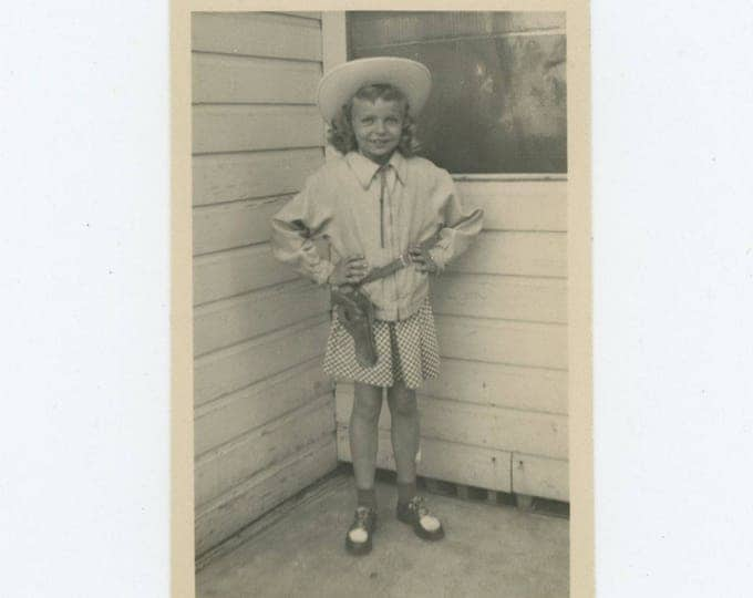Vintage Snapshot Photo:Young Cowgirl, c1940s (75583)