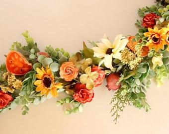 Fall Wedding Garland, Wedding Centerpiece, Thanksgiving Centerpiece, Table Runner, Fall Garland, Autumn Decoration, Sweetheart Table Decor