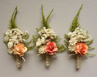 Coral Boutonniere, Peach Wedding Boutonniere, Mens Boutonniere, Summer Wedding, Rose Boutonniere, Grooms Lapel Pin, Dried Flower Boutonniere