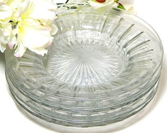 Five Heisey Glass Coarse Rib Deep Salad Plates