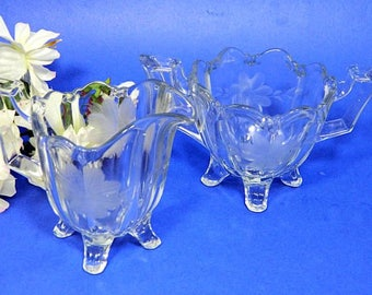 Antique Imperial Glass Quadruped Colonial Wheel Etched Creamer and Sugar Bowl