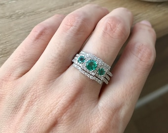 Emerald Engagement Ring Set- Art Deco Wedding Set- Three Piece Bridal Set- Three Stone Emerald Ring- Unique Bridal Set Rings- Vintage Bridal