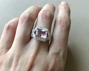 Emerald Cut Engagement Ring- Rectangle Morganite Promise Ring- Halo Morganite Anniversary Ring- Double Shank Engagement Ring