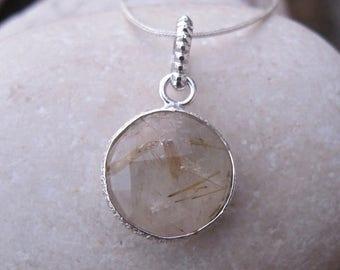 30% OFF Statement Necklace- Gold Rutilated Quartz Necklace- Quartz Necklace- Topaz Necklace- Gemstone Necklace- Stone Necklace-Rutile Neckla