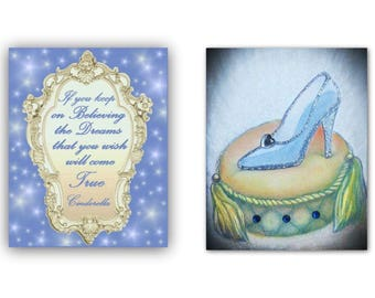 Cinderella Children's Wall Art, Princess Decor, Girls room Decor, Cinderella's Shoe & Quote SET OF 2 Prints,Princess Nursery, Children Decor