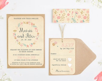 Rustic Floral Wedding Invitation Bundle - Fall Autumn Wedding