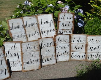 Love is patient, Love is kind 11 rustic painted signs