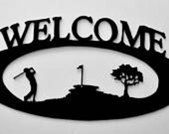 Golf Sign, Welcome Sign, Golf Welcome Sign, Golf, Front Door Sign, Porch Sign, Sports, Patio Sign, metal sign, oval, golfer, black, rillabee