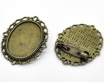 1 oval brooch support cabochon metal color bronze 35 x 30 mm (pr cabochon 25 x 18 mm)