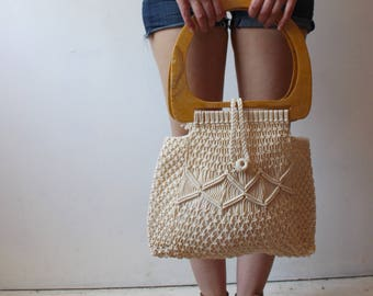 70s large macrame summer handbag tote