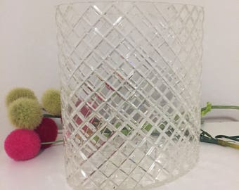 VINTAGE CLEAR LUCITE Oval Trash Can, Lucite Waste Paper Basket, Diamonds are a Girls Best Friend at Ageless Alchemy
