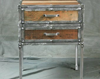 Rustic Industrial End Table/Side Table/. Reclaimed Wood and Steel.  Modern/Urban/Mid Century. Modern Night Stand.  Custom