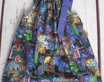 Pillowcase Dress-Beauty & the Beast-stained glass with coordinating border and tie-Size 6 Ready to Ship or Made to order up to Size14-Disney