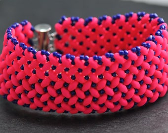 Hot Pink and blue, Super duo Bracelet, Neon Czech Glass beads, Handstitched cuff, made to order