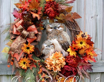 Deluxe Fall Owl Family Wreath, Large Rustic Autumn Owl Wreath, Rust, Burgundy, Copper, Autumn Floral, Fall floral Woodland