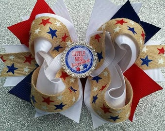 Patriotic Hair Bow...4th of July Hair bow....July 4th Hair Bow...Burlap Hair Bow..Red White and Blue Hair Bow