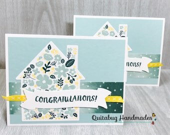 Stampin' Up! New Home Card/Home Owner Card/Congrats Card/New Neighbor Card- Home Life- Yellow, Mint, Green