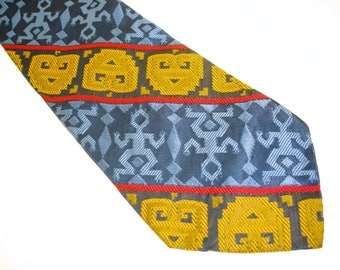 1970s WIDE Disco Era Men's Vintage Tie 100% Rhodia Acetate Blue, Red & Gold Necktie with Aboriginal or Tribal Abstract Man Designs