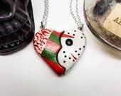 Freddie Krueger necklace, Friday the 13th necklace, Nightmare On Elm Street, Broken Heart necklace, Jason Vorhees, gothic wedding, besties