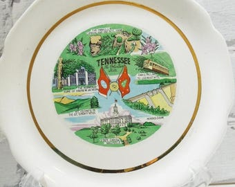 ON SALE Tennessee Commemorative Plate. The Volunteer State. Great Smokey Mountains. Nashville. Lookout Mountain.  Collectible Plates. Americ