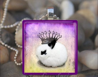 10% OFF JUNE SALE : Princess Bunny Queen Rabbit Glass Tile Pendant Necklace Keyring