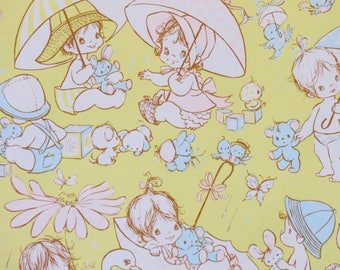 Vintage Hallmark Pastel Baby SHOWER Gift Wrap - Wrapping Paper - BABIES and UMBRELLAS - 1960s