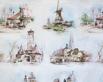 Vintage Hallmark All-Occasion TRAVEL Themed Wrapping Paper - Gift Wrap - European VACATION - 1960s