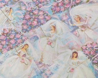 Vintage Gibson Wrapping Paper - Gift Wrap - Beautiful SHOWER Maidens - 1960s