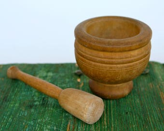 Wooden pestle and mortar, Italian