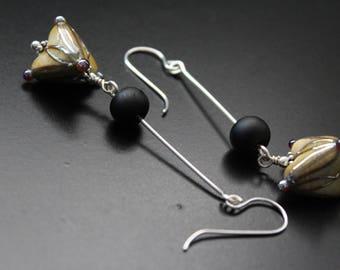 Long artisan lampwork bead earrings geometric abstract floral glass bead earrings boho free flowing earrings neutral year round earrings