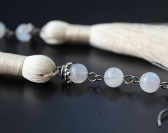 Long Shoulder Duster Moonstone and Tassel Earrings, June Birthstone Earrings, Winter White Gemstone Earrings, Boho Sterling Earrings